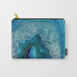 Blue agate marble faux druse crystal quartz gem gemstone geode mineral stone photograph hipster Carry-All Pouch