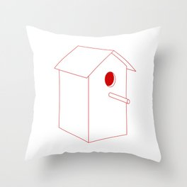 Home Sweet Birdhouse Throw Pillow