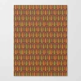 Fall Leaf Folk Art, Orange Green Brown Canvas Print