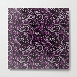 Byzantium Purple Paisley Pattern Metal Print