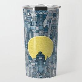 space city sun blue Travel Mug