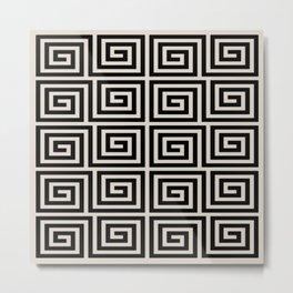 Greek Key Pattern 123 Black and Linen White Metal Print