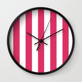 Cerise fuchsia - solid color - white vertical lines pattern Wall Clock