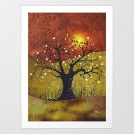 Sunset And Lights Art Print