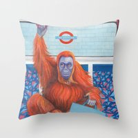frank Throw Pillows featuring Frank by Sarah Underwood Illustration