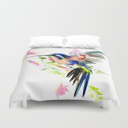 Hummingbird, bird, flying bird design decor blue peach colors Duvet Cover