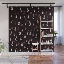 Dark White And Red Raindrops Pattern Wall Mural