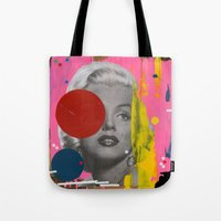 marilyn Tote Bags featuring Marilyn by FAMOUS WHEN DEAD