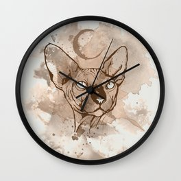 Watercolor Sphynx (Sepia/Coffee stain) Wall Clock
