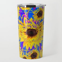 SURREAL FUCHSIA BLUEW SUNFLOWERS  MODERN ART Travel Mug
