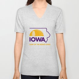 Iowa: Land of the Rising Corn - Purple and Gold Edition Unisex V-Neck