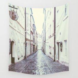 Cobblestone Street in Prague Wall Tapestry