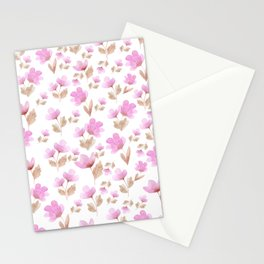 Girly blush pink brown watercolor hand painted floral pattern Stationery Cards
