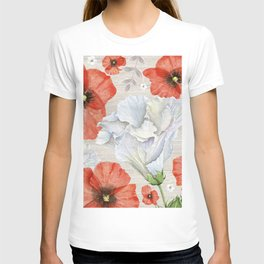 Red & White Flowers On White Wood Texture T-shirt