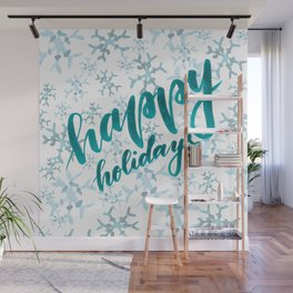 Happy Holidays - teal Wall Mural