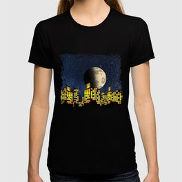 A City By Night With The Moon Skyline T-shirt