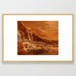 In the Foothills of Titan's Mountains Framed Art Print