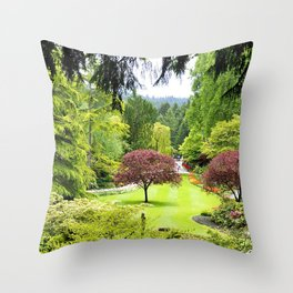 canada butchart gardens trees garden Throw Pillow