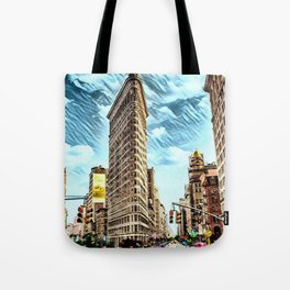 Flatiron Building NYC Landscape Painting by Jeanpaul Ferro Tote Bag