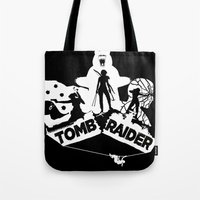 tomb raider Tote Bags featuring Tomb Raider Reborn by Christophajay