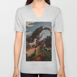 Classical Masterpiece 'Wreck of the Ol' 97' By Thomas Hart Benton Unisex V-Neck
