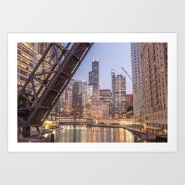 Kinzie St. Railroad Bridge Art Print