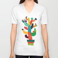 cactus V-neck T-shirts featuring Whimsical Cactus by Picomodi