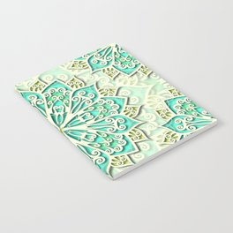White cyan and yellow Beautiful Wedding Mandala Notebook