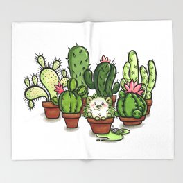 Green - Cactus and Hedgehog Throw Blanket
