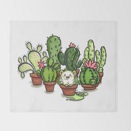 Green - Cactus and Hedgehog Throw Blanket