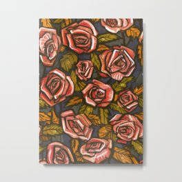Autumn Roses Floral Pattern Vintage Botanical Salmon Chartreuse Metal Print