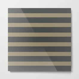 Brown Cafe latte Stripes on Gray Background Metal Print