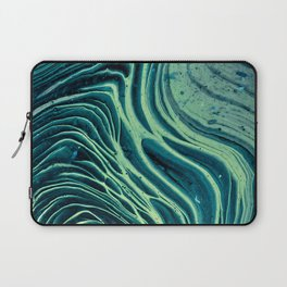 Lagoon Acrylic Tree Ring Pour Painting Laptop Sleeve