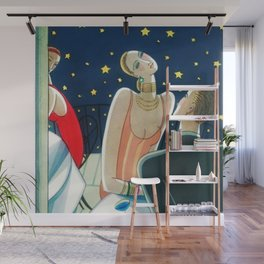 The Woman in Red & Stars, Art Deco - Haute Couture NYC Portrait Painting Wall Mural