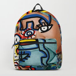 Africa Portrait Graffiti Style Digital Collage Backpack