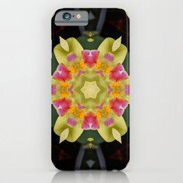 Green Orchid Flower Kaleidoscope iPhone Case