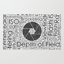 Photography Terms  Word Cloud Lens Shutter Rug