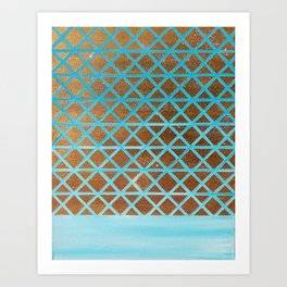 Turquoise, Triangles Gold Art Print