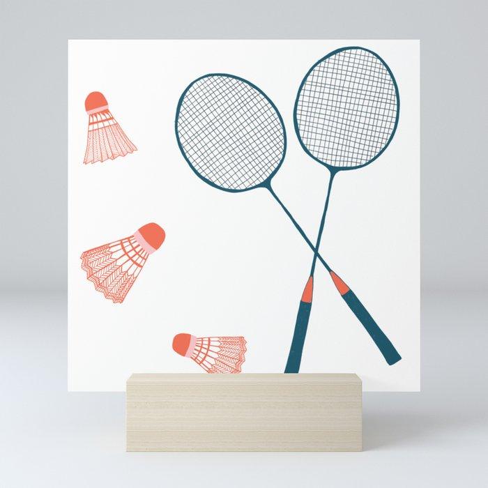 Vintage Badminton Print in blue and red Mini Art Print