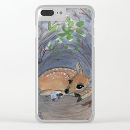 """""""Lost in the Woods"""" A Deer and Hedgehog Portrait Clear iPhone Case"""