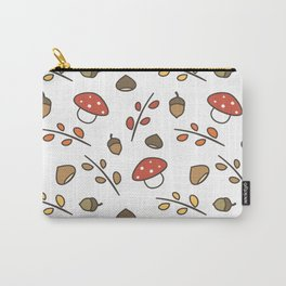 cute lovely autumn pattern with branches, leaves, mushroom, acorns, chestnuts Carry-All Pouch