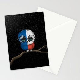 Baby Owl with Glasses and Texas Flag Stationery Cards