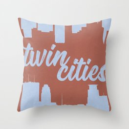 Minneapolis and Saint Paul Minnesota Twin Cities-Red and Blue Throw Pillow