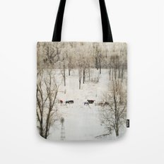Horses in the Winter Tote Bag