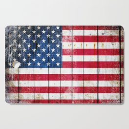 Distressed American Flag On Wood Planks - Horizontal Cutting Board