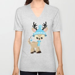 Cute Reindeer, Reindeer With Blue Hat And Scarf Unisex V-Neck