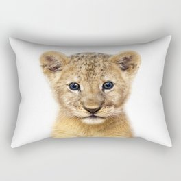 Baby Lion, Baby Animals Art Print By Synplus Rectangular Pillow