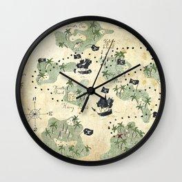Hand Drawn Pirate Map Wall Clock
