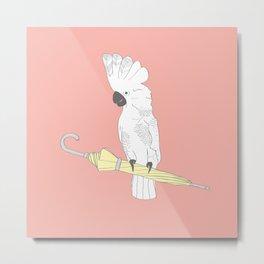"'Umbrella Cockatoo"" Illustration Print Metal Print"