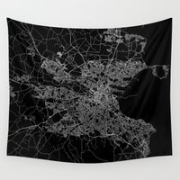 dublin Wall Tapestries featuring Dublin map by Line Line Lines